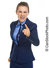 enojado, mujer de negocios, amenazador, con, dedo