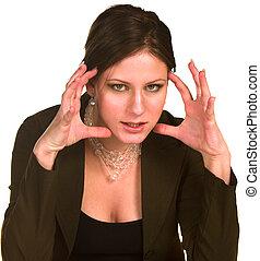enojado, mujer de negocios
