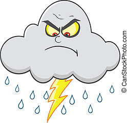 enojado, nube, lluvia, relámpago