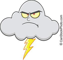 enojado, nube, relámpago