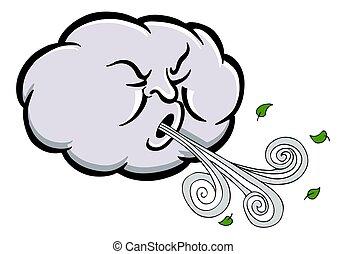 enojado, nube, soplar, viento