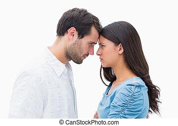 enojado, otro, pareja, mirar fijamente, cada