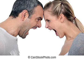 enojado, pareja