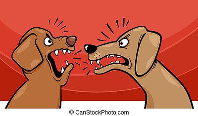 enojado, perros, ladrar, ilustración, caricatura