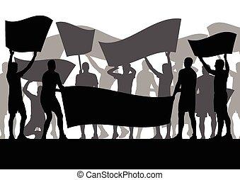 enojado, protesters, multitud, gente