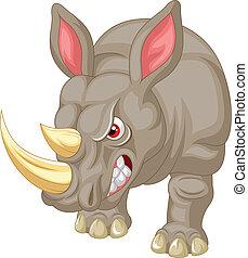 enojado, rinoceronte, caricatura, carácter