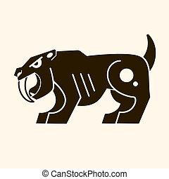 enojado, saber-toothed, tigre, ., prehistórico, era., vector, logotipo, para, camiseta
