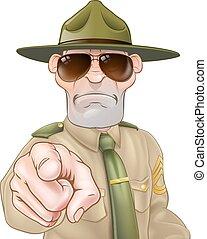 enojado, sargento, taladro, señalar