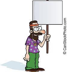 enojado, señal, protesta, hippie