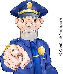 enojado, señalar, oficial, policía