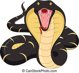 enojado, serpiente, caricatura