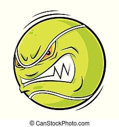 enojado, tenis, caricatura, pelota, cara