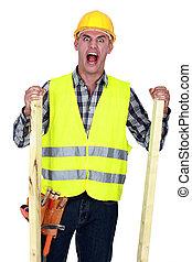 enojado, trabajador construcción