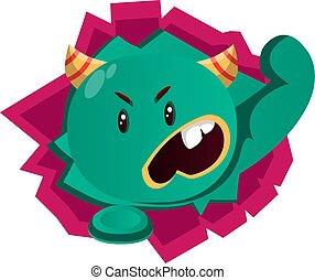 enojado, vector, monstruo verde, ilustración