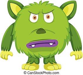 enojado, verde blanco, plano de fondo, monstruo