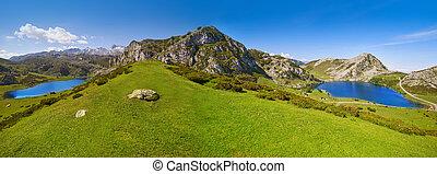 Enol and Ercina lakes panoramic Picos de Europa - Enol and...
