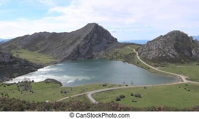 Enol Lake fast - Enol Lake at Picos de Europa mountains in...
