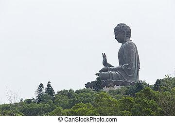 enorm, tian bruine kleur, boeddha, op, po, lin, klooster,...