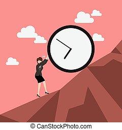 enorme, affari donna, orologio, spinta, arduo