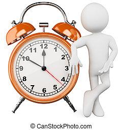 enorme, allarme, 3d, uomo, orologio