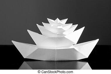enorme, bianco, barca carta, multideck