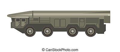 enorme, blindado, isolado, ilustração, veículo, militar, corpo