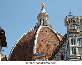 enorme, cúpula, de, a, santa maria del fiore, catedral, em,...