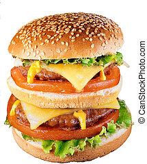 enorme, cheeseburger, doppio