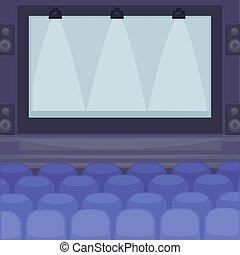 enorme, cinema, tela, confortável, assentos, corredor
