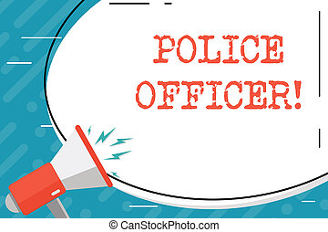 enorme, conceito, polícia, officer., letra, execução, texto, adesivo, equipe, significado, volume, shouting, forma, oficial, demonstrar, em branco, oval, branca, megafone, icon., lei