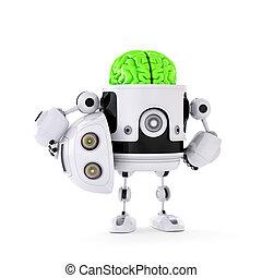 enorme, conceito, robô, artificial, brain., verde, android,...