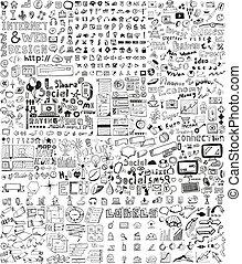 enorme, desenhado, elementos, jogo, mão