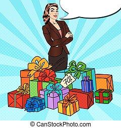 enorme, donna, arte, regalo, pop, scatole, felice