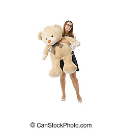 enorme, donna, orso teddy, gioco, felice