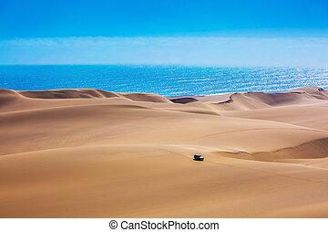 enorme, dunas, costa, areia, em movimento, atlântico
