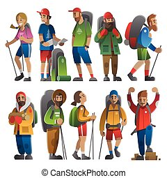 enorme, estilo, jogo, backpackers., apartamento, hikers, gradients