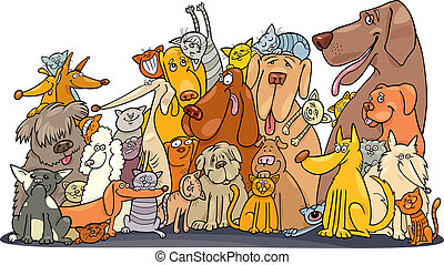 enorme, gatti, gruppo, cani
