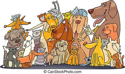 enorme, grupo, de, gatos, e, cachorros