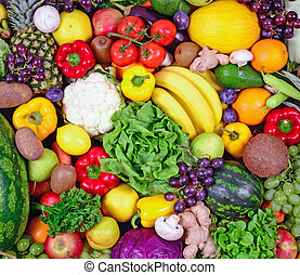 enorme, Grupo, legumes,  -, alto, fruta, estúdio, fresco, qualidade, tiro