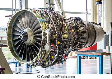enorme, industriale, engine's, salone, manutenzione