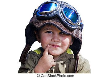 enorme, isolated., occhiali, bambino, cappello, pilota
