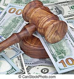 enorme, juizes, dinheiro, montão, auctioneers, martelo, ou