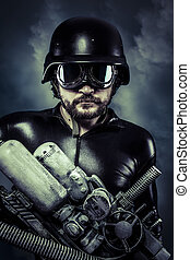 enorme, laser, cloudscape, fucile caccia, sopra, futuro, cannone, uomo