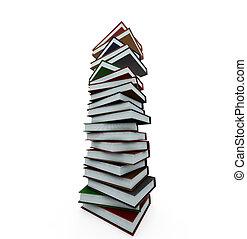 enorme, libri, pila