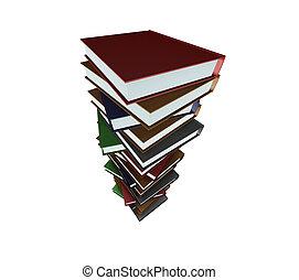 enorme, livros, pilha