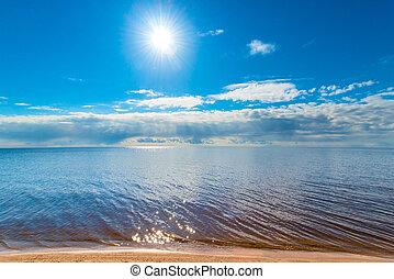 enorme, luminoso, lago, tranquillo, sole