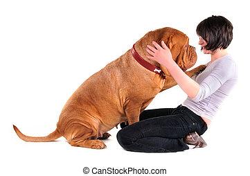 enorme, mestre, cão, dela, tocando
