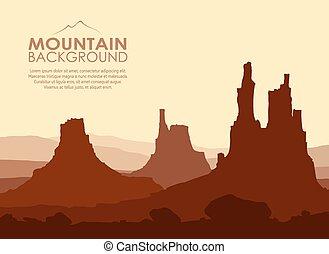 enorme, montanhas., vetorial, pôr do sol, illustration.