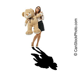 enorme, orso, felice, nero, uggia, ondeggiare, donna, teddy
