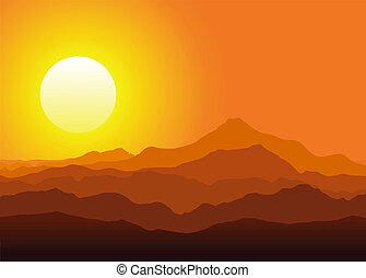 enorme, pôr do sol, montanhas